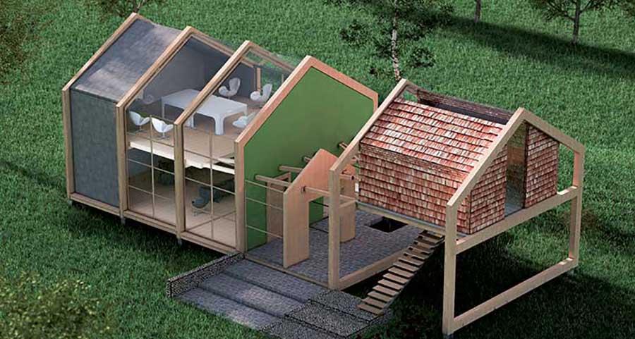 progetto villa in legno Palafitta