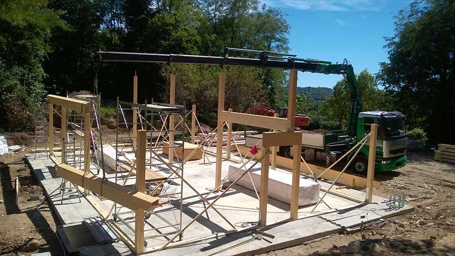 costruzione della casa in legno a Trevisago