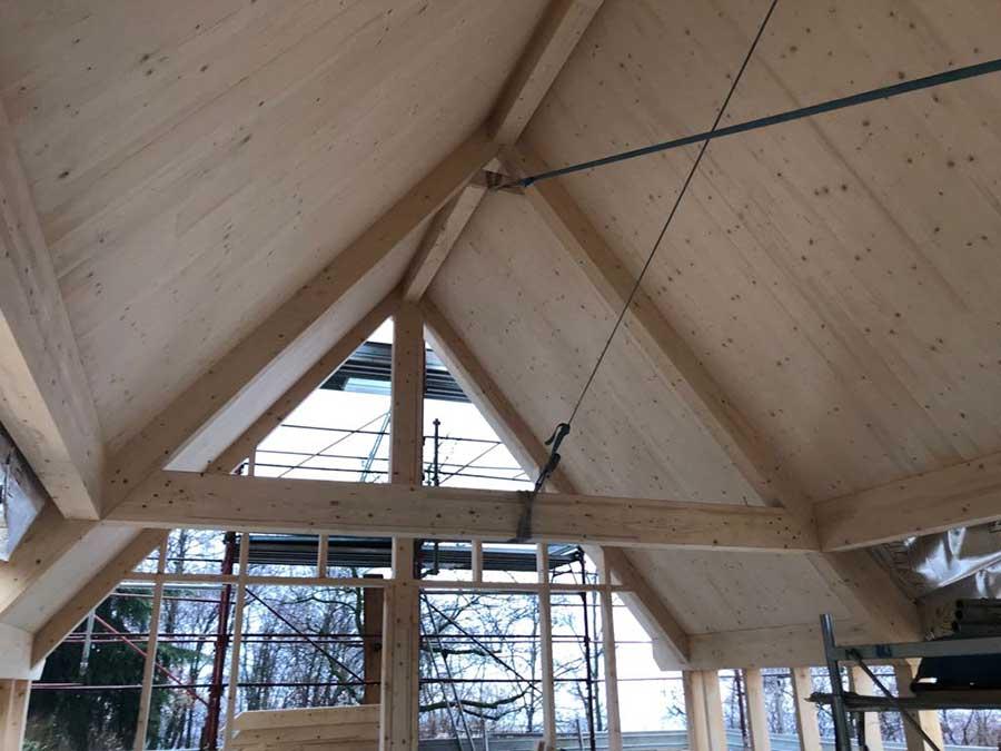 soffitto della villa in legno a Ponteranica