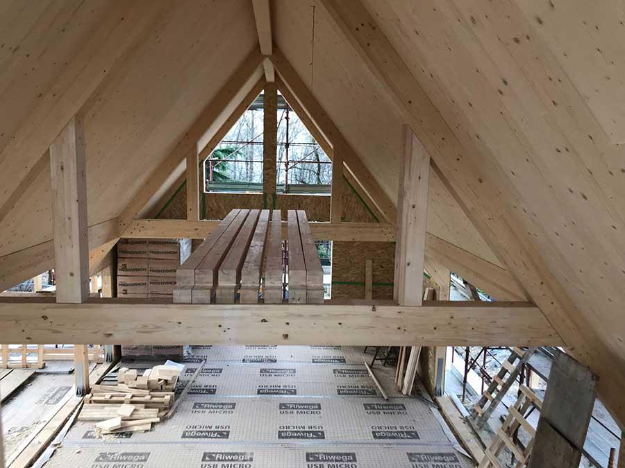 copertura in legno della villa a Ponteranica