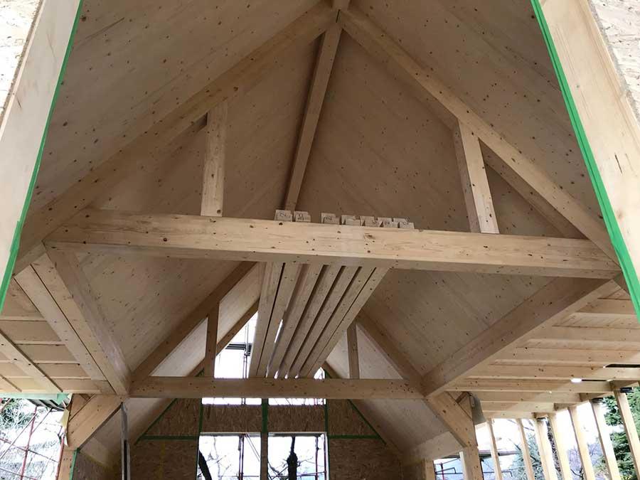 costruzione della villa in legno a Ponteranica