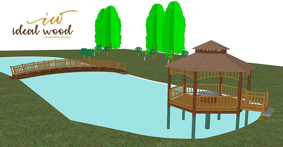 disegno del ponte in legno e del gazebo per il Qatar